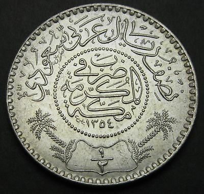 SAUDI ARABIA (United Kingdoms) 1/2 Riyal AH 1354 (1935) - Silver - 1880