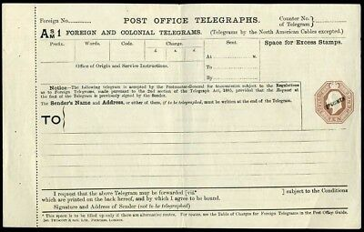 1903 KEVII Foreign & Colonial Telegraph Form 10d Brown SPECIMEN