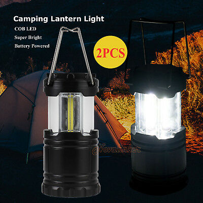 2x COB LED Portable Camping Torch Lantern Battery Operated Night Light Tent Lamp
