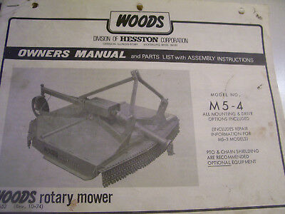 Vintage Woods  Co Parts & Operators Manual -# M5-4 Rotary Mower- 1974