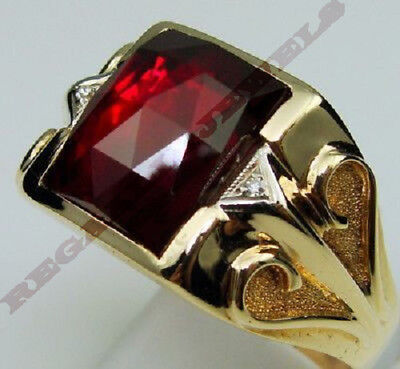 Mens Round Sz 9,10,11,12,13 Valuable 14K Yellow Gold Over 1.35Ct Ruby Gem Ring