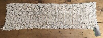 """Vintage Machine Made Lace Runner / Lace Piece - 10 1/2' X 36"""""""