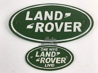 LARGE Land Rover 33cm & SMALL One Wife Livid 17cm Green Oval Cast Iron Sign