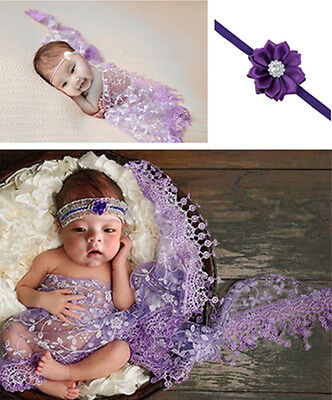 Newborn Baby Lilac Lace Cocoon Swaddle Wrap Blanket + Headband Photography Prop