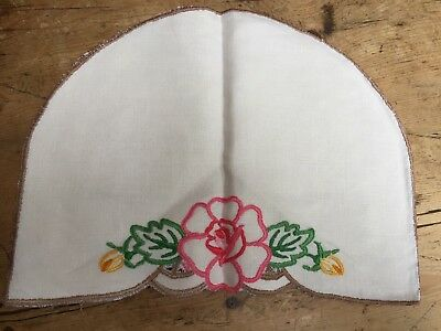 "Vintage Hand Embroidered On Ivory Linen Tea Cosy - One Of A Kind 10""X13"""