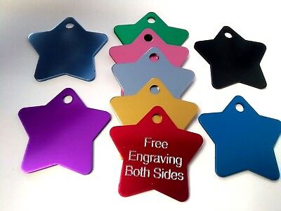 Large Pet ID Tag Dog Cat Star 32mm FREE ENGRAVING