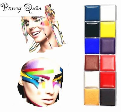 12 Color Body face painted Make up Flash Tattoo Face Body Paint Oil Painting Art
