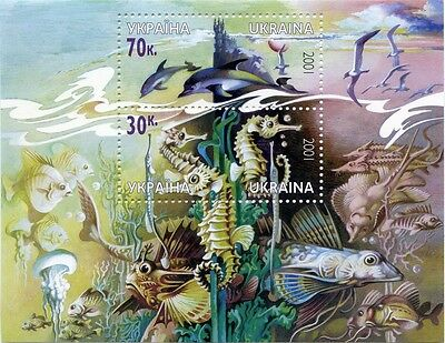 UKRAINE 2001 ** MNH BLOCK33 Sea, Fish