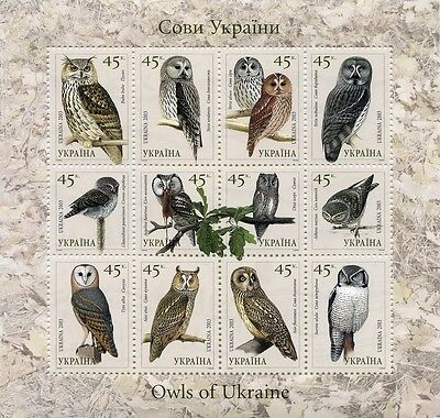 UKRAINE 2003 ** MNH Klb.574-585 BIRDS Red Book of Ukraine.Owls