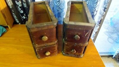 1928 Pair Antique Oak Singer Treadle Sewing Machine Double Drawers with Frames
