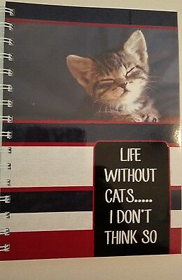 2018  year diary 'life without cats... I don't think so' quote A5