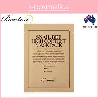 [BENTON] Snail Bee High Content Mask Pack 20g (1, 3, 5 or 10 sheets)