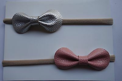 x2 Headband Faux Leather Bow Baby Newborn Toddler Girl Nylon Hair Accessories