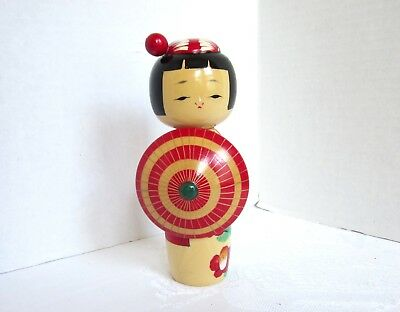 VINTAGE KOKESHI DOLL Asian Japanese Hand Painted wooden