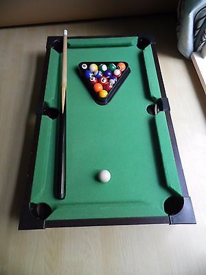 Wooden Table Top Mini Deluxe Pool 1 Cue Balls and Triangle