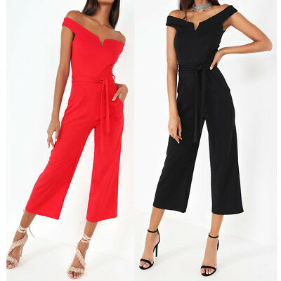 New Womens Bardot V Neck Crop Culotte Wide Jumpsuit Ladies Jumpsuit Size 8-16 UK
