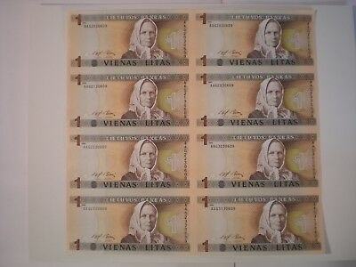 8 Banknotes - Uncut Currency Sheet of UNC.1994 Lithuania Litas Banknotes