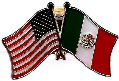LOT OF 12 Mexico Friendship Flag Lapel Pins - Mexican Crossed Flag Pin