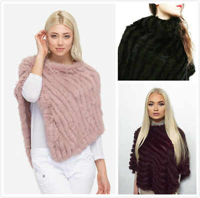 100% Real Genuine Knitted Rabbit Fur Poncho Pullover Cape Poncho Coat Stole New