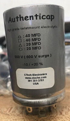 CAPACITOR CAN 40/40/20/20µF @ 550VDC Authenticap Dynaco Citation Scott McIntosh