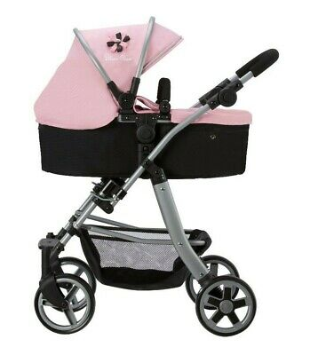 Silver Cross Pioneer 5 in 1 Dolls Pram - Vintage Pink Fabric