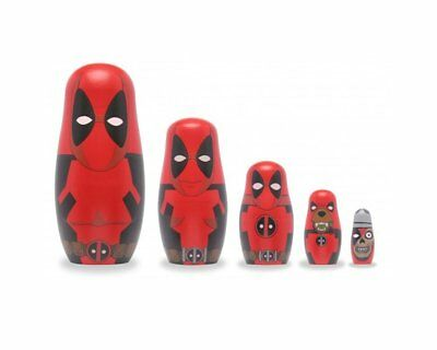Marvel Deadpool Family Wooden Nesting / Russian Dolls - Set of 5