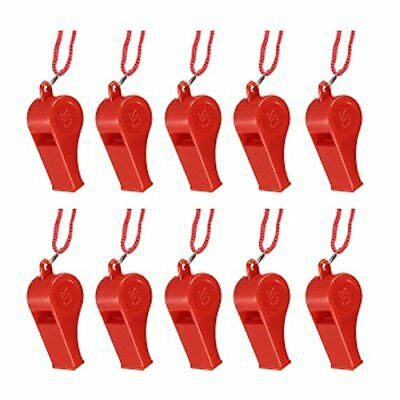 PF 10pcs Plastic Multicolor Referee Whistle Red