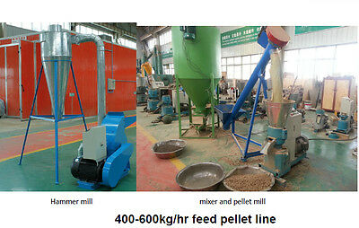 Small PELLET MILL line  600Kg/H for balanced animal feed- milling- mixing
