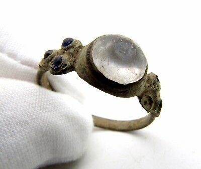 Late Medieval Ring W/ 3 Blue And 1 White Stone/gem- Rare Artifact Wearable- P6