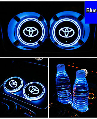 LED Logo Lamp Car Cup Holder Mat Pad Atmosphere Light For Toyota USB Charging
