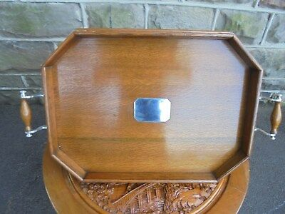 Antique Oak & Silver Plated Gallery Drinks Butlers Tray