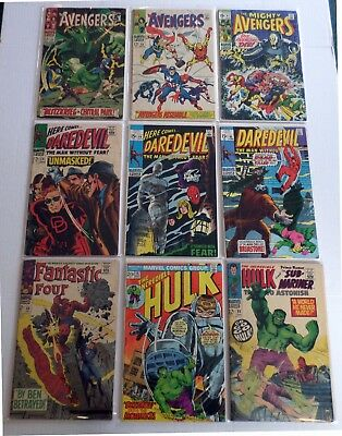 LOT of 9 Low Grade Silver Age Marvel Comics (1967-1973) Poor to Good+ See Below