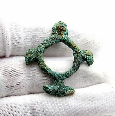 Viking Era Amulet / Pendant W/ Eagle Heads - Ancient Wearable Artifact - P11