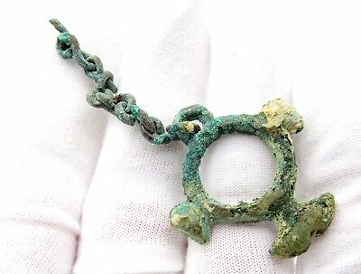 Viking Era Amulet / Pendant W/ Eagle Heads - Wearable Artifact Stunning - P12