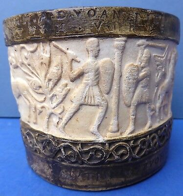 Unusual Antique Ancient Style Chalkware Pot Greek Roman Early 20th Century