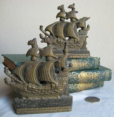Bookends Medieval Spanish Galleons Bronze Vintage 4""