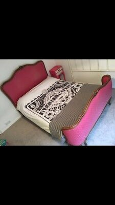 Stunning Vintage/Antique French Hot Pink Double Bed