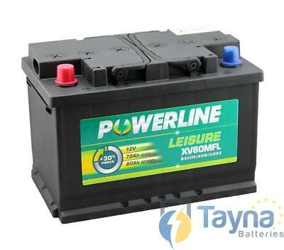 XV80MFL Powerline Batterie Camping Bateau 12V (Positive Front Left)