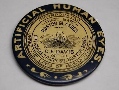 Artificial Human Eyes Celluloid Pocket Mirror Davis Opticians Boston Ma. Pin
