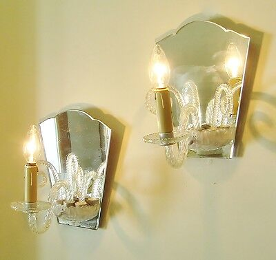 Superb Pair Murano Sconces Wall Lights Mirrors Glass Fronds Shabby Style
