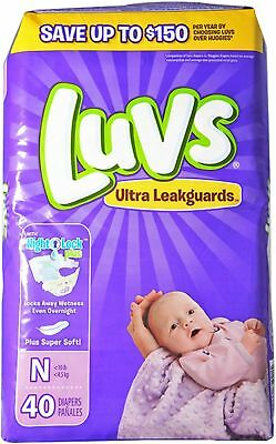 Luvs Ultra Leakguards Diapers with Night Lock, Size N 40 ea (Pack of 2)