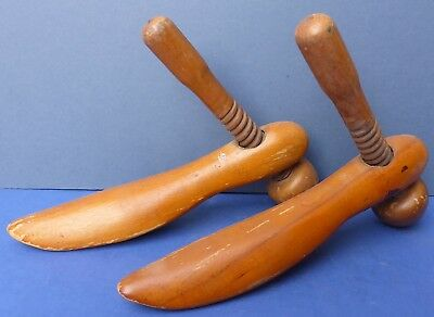 Pair Antique Edwardian Watts Patent Wooden Ladies Shoe Stretchers Forms 1900
