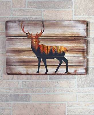 Rustic Deer Buck Silhouette Wall Art Plaque Lodge Log Cabin Home Decor 23x16 NEW