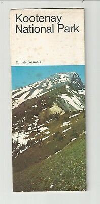 Kootenay National Park Bc 1960's Fold Out Map Tourist Travel Brochure
