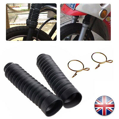 2x Universal Motorcycle Rubber Front Fork Cover Dust Gaiters Boots Gaitors BLACK