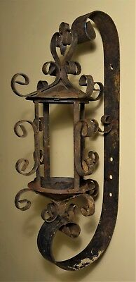 Antique Wrought Iron Mission Gothic Wall Sconce Candle Holder Arts Crafts