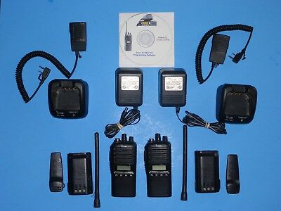 Two (2) Icom IC-F33GS VHF Radios Charger spk mic software 136-174 MHz  Excellent
