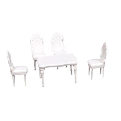 5pcs 1:25 Landscape Scenery Inner Model Dining Room Set Table w/ 4 Chair L8R6