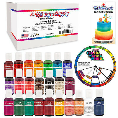 24 Color Cake Food Coloring Liqua-Gel Master Set .75 fl. Oz. (20ml) Bottles