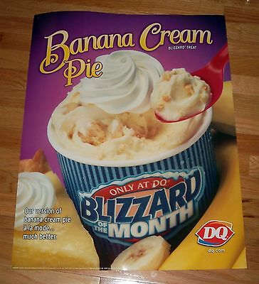 Dairy Queen Paper Stock Poster Advertising a Banana Cream Pie Blizzard - NICE!